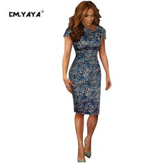 CMYAYA 2016 New Women Sexy Summer Blue Short Sleeve V-neck Bow Leopard print Bodycon Knee-Length Dress at our web shop http://www.aliexpress.com/store/536244