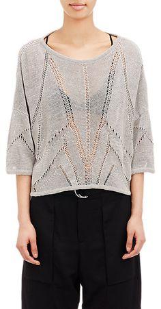 Helmut Lang Open-Work Knit Crop Sweater - Crewneck - Barneys.com