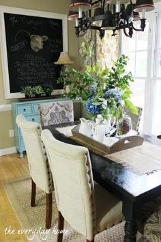 The Everyday Home Tour-from The Everyday Home - This is a beautiful room and I dearly love the little blue chest. Would love to have it,