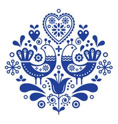 Scandinavian folk art ornament with flowers, nordic floral design, retro background in navy blue. Retro floral background inspired by swedish and norwegian traditional embroidery. Hand Embroidery Patterns Free, Embroidery Flowers Pattern, Bird Embroidery, Vintage Embroidery, Indian Embroidery, Embroidery Ideas, Embroidery Online, Modern Embroidery, Vintage Pattern Design