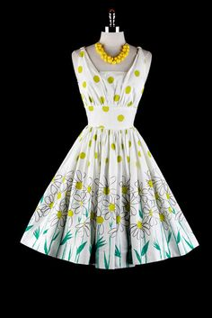Vintage 1950s Dress White Green Polka Dots by millstreetvintage