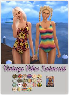 Vintage Vibes Swimsuit at Maimouth Sims4 via Sims 4 Updates