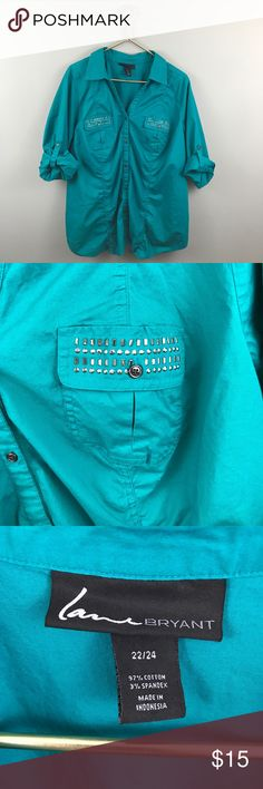 Lane Bryant Button Up Teal Shirt Great preowned condition. Bust 25.5 length 30 Lane Bryant Tops Button Down Shirts