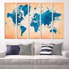 #Blue #World #Map #Home #Décor #Wall #Art #Kids #Room #bedroom #panel #canvas #large #design #designer #beautiful