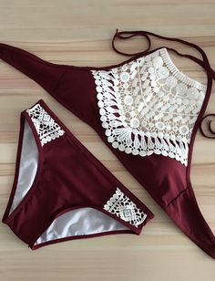 Unique Halter Bikini Sets in Halter Trim- Tankinis Code: 1358474 - Cheap Wholesale Price - Clothescheap.com