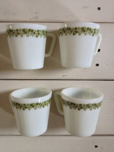 Vintage Corelle Corning Coffee Mugs, Green Crazy Daisy, Set of 4 via Etsy $14 ---- I do not have any of the coffee mugs. I would like a set of 8.