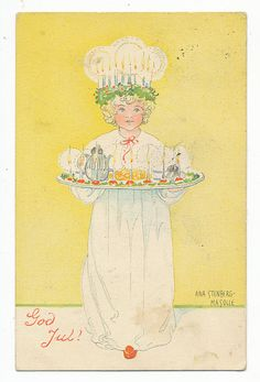 on Santa Lucia Day In Scandinavia on the 13 th of December people celebrate Lucia . People arrange processions with a Luci. Swedish Christmas, Scandinavian Christmas, Christmas Art, Vintage Christmas, Christmas Holidays, Xmas, Vintage Cards, Vintage Postcards, Photo Postcards
