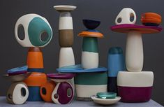 Dinosaur Designs Modern Tribal 2013 - Shield, Lotus and Modern Tribal Vases, Modern Tribal platters, assorted Lotus dishes and bowls Photographed by Nicholas Samartis