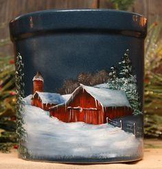 Red Barn in Winter Crock   Joyces Creative Country