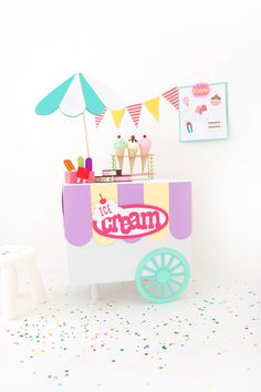 Use your Cricut Explore and a cardboard box to create a child's pretend play ice cream cart