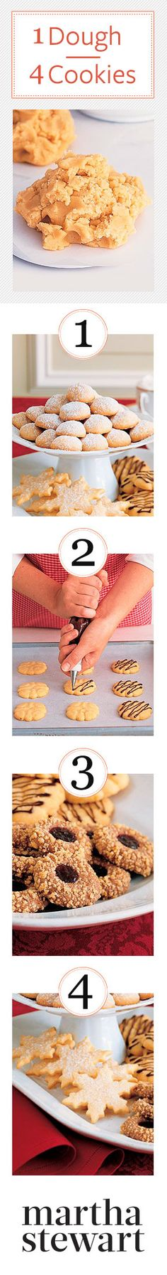Holiday Cookies: 1 Dough, 4 Cookies