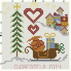 Cross-stitch Christmas... no color chart available, just use pattern chart as your color guide.. or choose your own colors...   ...   cuoreditela e disegni a crocette: Natale in arrivo