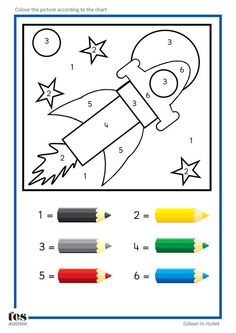Simple colour by numbers pictures with clear visuals. Fish and Seahorse activities use four colours. Rocket and car activities use six colours. For toddlers and preschool teaching activity Space Preschool, Preschool Worksheets, Preschool Activities, Space Activities, Learning Activities, Kids Learning, Teaching Resources, Learning Spanish, Colour Activities