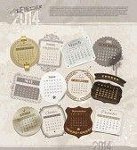 kalender : Vector Design-Vorlage mit Grunge Jahrgang Kalender 2014 - verschiedene Rahmen und Etiketten für jeden Monat