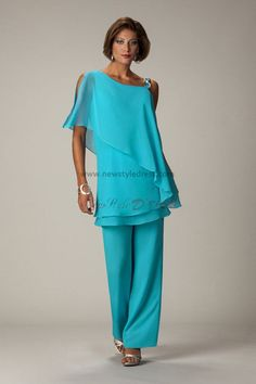 green Latest Fashion Chiffon mother of the bride pants suits nmo-014