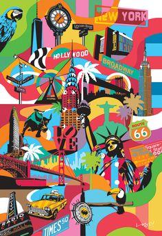 Brasil - Estados Unidos #Arte #Poster #Popart
