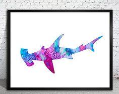 Hammerhead 2 shark Watercolor Print, watercolor painting, watercolor art, Illustration,  home decor wall art,  shark art, watercolor animal,