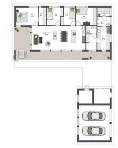 Selkeälinjaisen kodin sisäänkäynti sijaitsee talon päädyssä, valoisan sisäänvedetyn terassin yhteydessä. Yksikerroksisen kodin ... Townhouse, Minimalism, Sweet Home, Floor Plans, Layout, Flooring, Architecture, House Ideas, Building