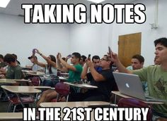 The art of taking notes has certainly changed since we were at school!