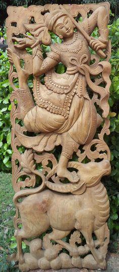 Carved wood panel teak buffalo dancer asian wall by Teakdelight Wood Carving Art, Wood Carvings, Art Carved, Carved Wood, Wood Design, Design Art, Asian Wall Decor, Wooden Sculptures, Panel Art