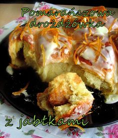 Drożdżówka pomarańczowa z jabłkami i inna wersja | Smaczna Pyza Baked Potato, Cake Recipes, Food And Drink, Sweets, Meat, Chicken, Baking, Ethnic Recipes, Cookies