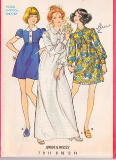 "1970s Junior Dress In 2 Lengths, Maxi Dress, Mini Dress, Vintage Sewing Pattern Butterick 5718 bust 31.5"" uncut"