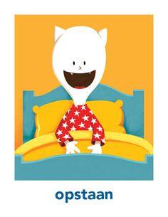 Borre dagritmekaart 'opstaan'. Plaatjes in hogere kwaliteit zijn te downloaden en printen vanaf www.borre.nl. Klik daar op 'Doen'.