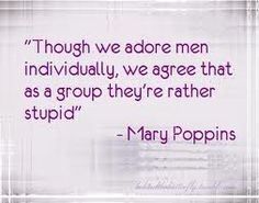 Though we adore men individually; we agree that as a group they're rather stupid -Mary Poppins
