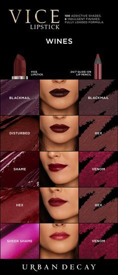 Lipstick Vamp it up with these bold, wine colored shades of Vice Lipstick!Vamp it up with these bold, wine colored shades of Vice Lipstick! Lipstick Swatches, Makeup Swatches, Lipstick Colors, Lip Colors, Lipsticks, Urban Decay Makeup, Urban Decay Vice Lipstick, Urban Decay Lip Liner, All Things Beauty