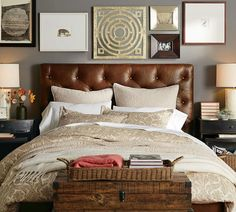 Tufted Leather  bed gray walls-PB