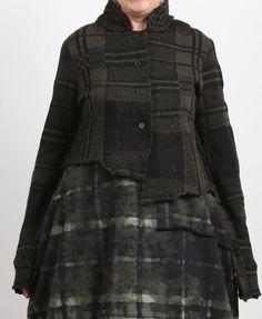 rundholz black label - Strickjacke in Kurzform Tartan gekochte Wolle green print - Winter 2018