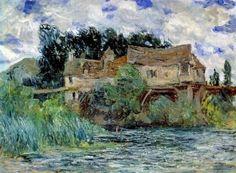 Claude MONET - Maisons sur le vieux Pont de Vernon #Normandie #Eure #Vernon