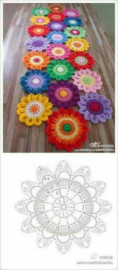 Crochet table runner diagram charts doily patterns 29 ideas for 2019 Crochet Mandala Pattern, Crochet Motifs, Crochet Flower Patterns, Crochet Diagram, Doily Patterns, Crochet Squares, Crochet Chart, Crochet Doilies, Crochet Flowers