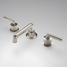 Henry Low Profile Three Hole Deck Mounted Lavatory Faucet with Coin Edge Cylinder and Metal Lever Handles