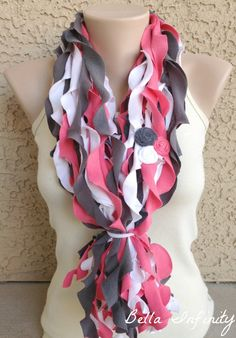 Bella Infinity Floral Wave Scarf Up-Cycled Jersey Fabric Pink White Grey Casual Chic. $30.00, via Etsy.