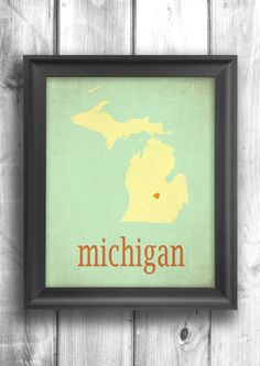 Michigan poster typographic print map art state poster wall sign choose your color - 11x14 Typography. $20.00, via Etsy.