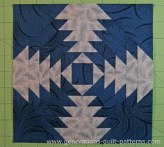 The finished Pineapple quilt block pattern with a dark 'X'