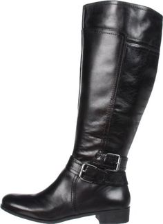Details about WOMENS BLACK LEATHER STYLE WIDE CALF FIT BUTTON ...