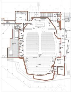 Image 19 of 22 from gallery of Oratory and Auditorium Retamar School / Planta Baja Auditorium Plan, Auditorium Design, Church Building, Building Plans, Building Design, Theater Architecture, Architecture Plan, Theatre Design, Stage Design