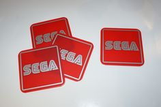 SEGA set of 4 Coasters Red Matt Perspex with Silver Matt Vinyl Graphics.. £14.95 + Delivery...see www.mojo-shop.co.uk for more details