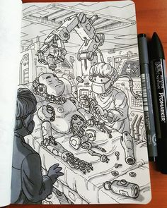 Daniele Turturici is a concept artist, illustrator, and cartoonist from Italy. He likes to draw science fiction, action scenes, and fantasy backgrounds. Ink Pen Drawings, Art Drawings Sketches, Photography Illustration, Illustration Art, Background Drawing, Traditional Artwork, Black And White Illustration, Pen Art, Art Sketchbook