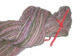 Handspun - Hand Dyed Soft Merino - Alpaca - Silk - Singel Art Yarn.