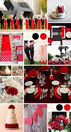 A Dramatic Color Palette In Red Black and White! | TheKnot.com