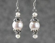 Black pearl dangle earrrings Bridesmaid gifts by AnniDesignsllc
