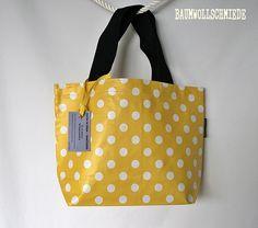 Multibag Wachstuchtasche Tasche Punkte gelb von Baumwollschmiede auf DaWanda.com
