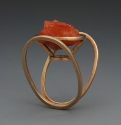 Ring | Leia Zumbro.  Gold with a quartz crystal