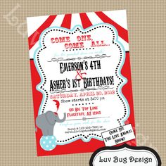 PRINTABLE Vintage Carnival or Circus Birthday Party Invite- DIY printable party invitation by Luv Bug Design