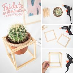 Come creare un cachepot minimal in legno Handmade Furniture, Furniture Decor, House Plants Decor, Diy Scarf, Diy Home Crafts, Plant Hanger, Diy Room Decor, Creations, Diy Projects
