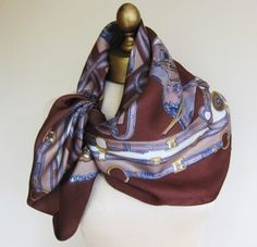 Equestrian silk scarf 1970s brown and gray by foulardfantastique