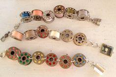 Vintage sewing machine metal bobbin bracelet. $35.00, via Etsy.  Love this idea!!!